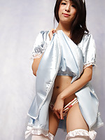 Yuma Ueda Asian in long socks and heels shows crack in scanty