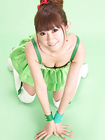 Zuo Qi Asian doll in fluffy skirt and long boots is beauty queen